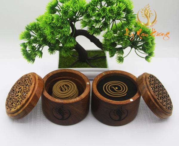 Hộp gỗ đựng trầm hương khoanh